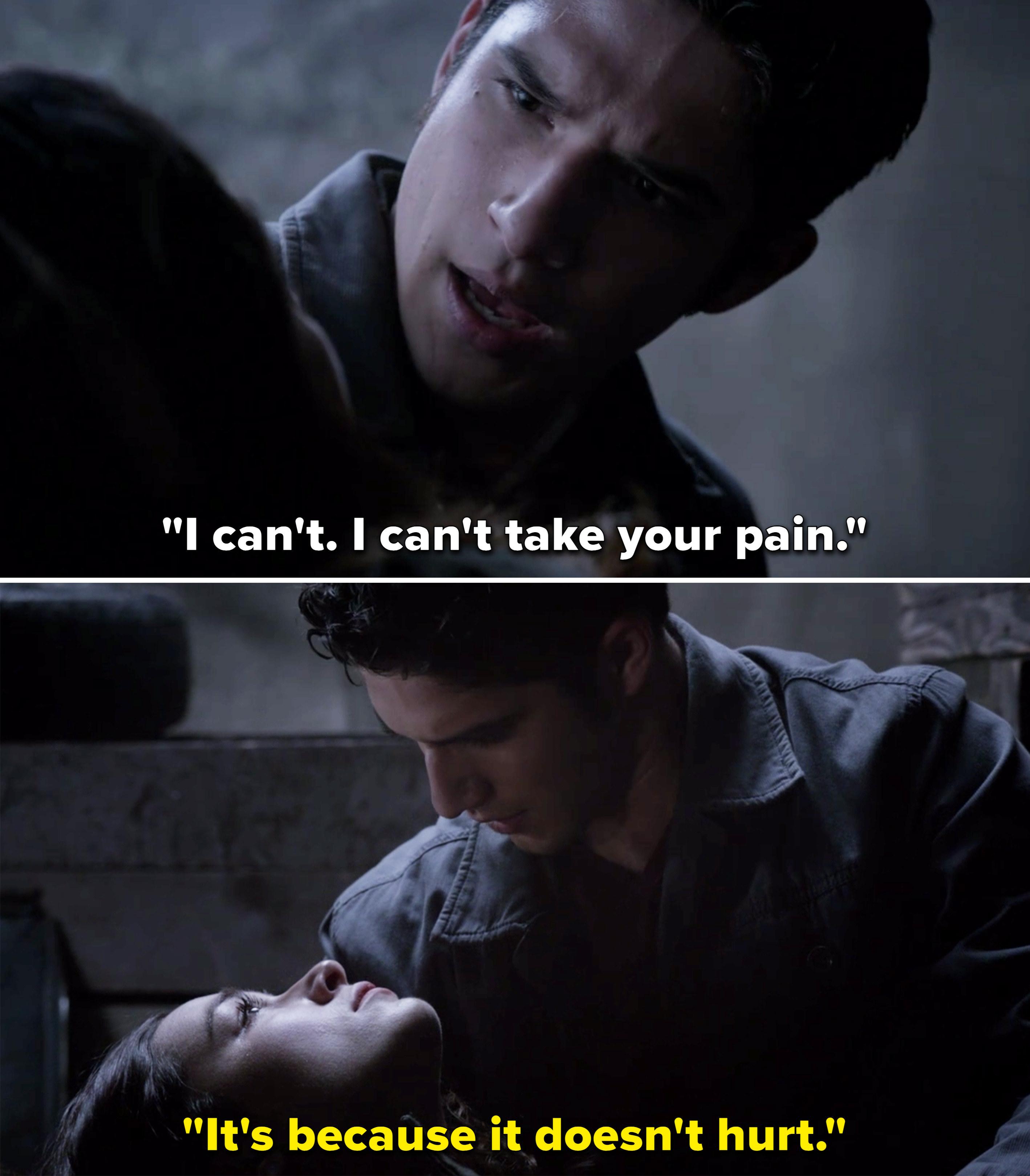 "Allison telling Scott, ""It's because it doesn't hurt"""
