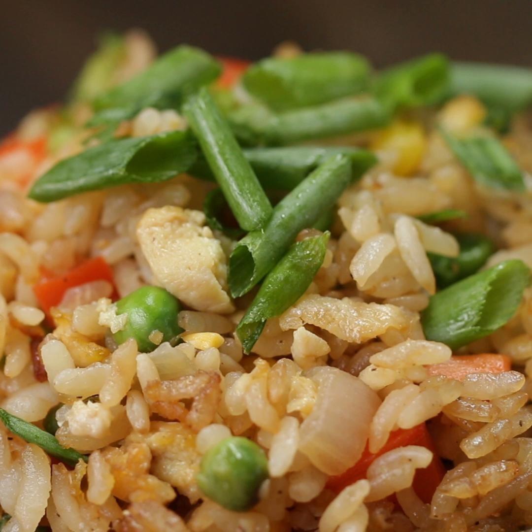Close-up photo of veggie fried rice