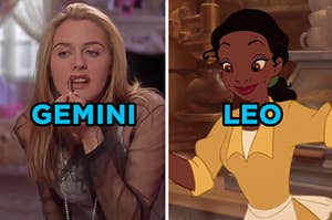 """On the left, Cher from """"Clueless"""" putting on lip liner labeled """"Gemini,"""" and on the right, Tiana from """"The Princess and the Frog"""" making beignets labeled """"Leo"""""""