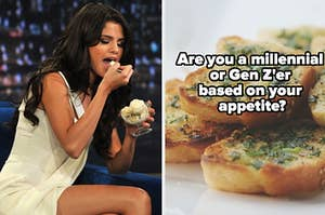 """Selena Gomez is on the left eating ice cream with garlic bread on the right labeled, """"Are you a millennial or Gen Z'er based"""