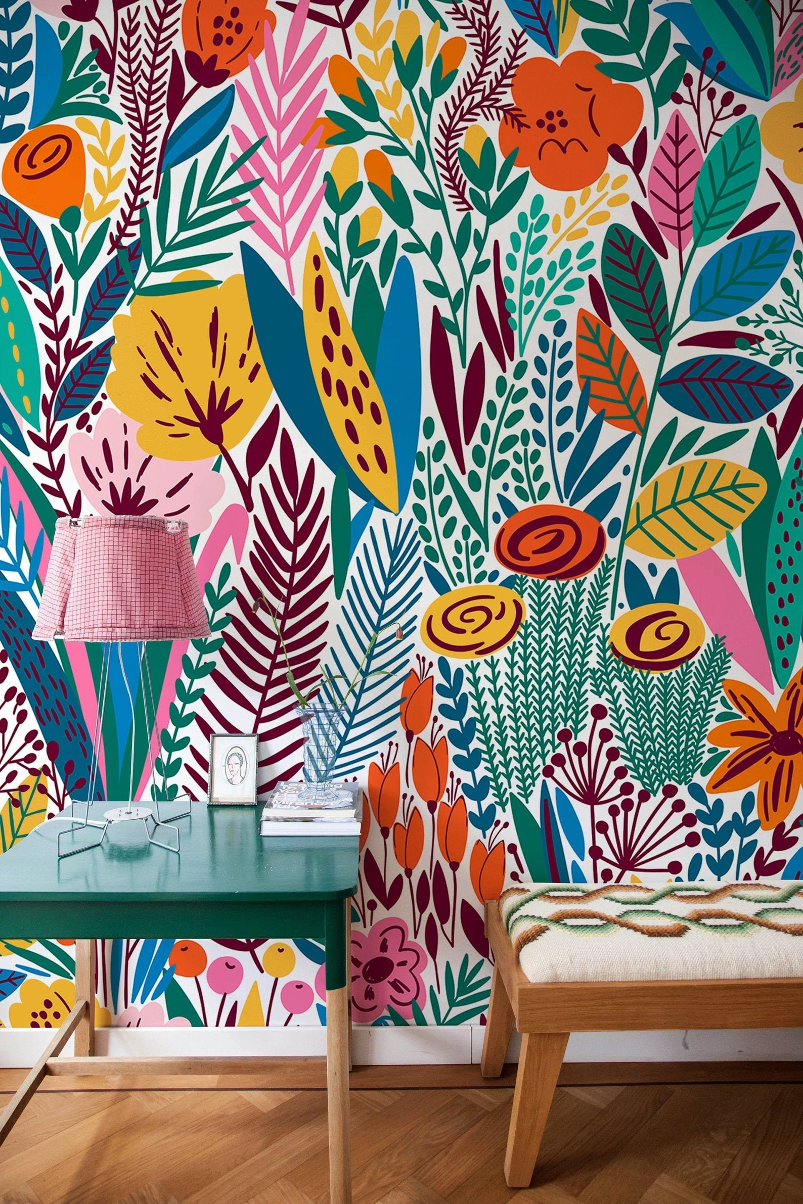 Bright colorful floral wallpaper