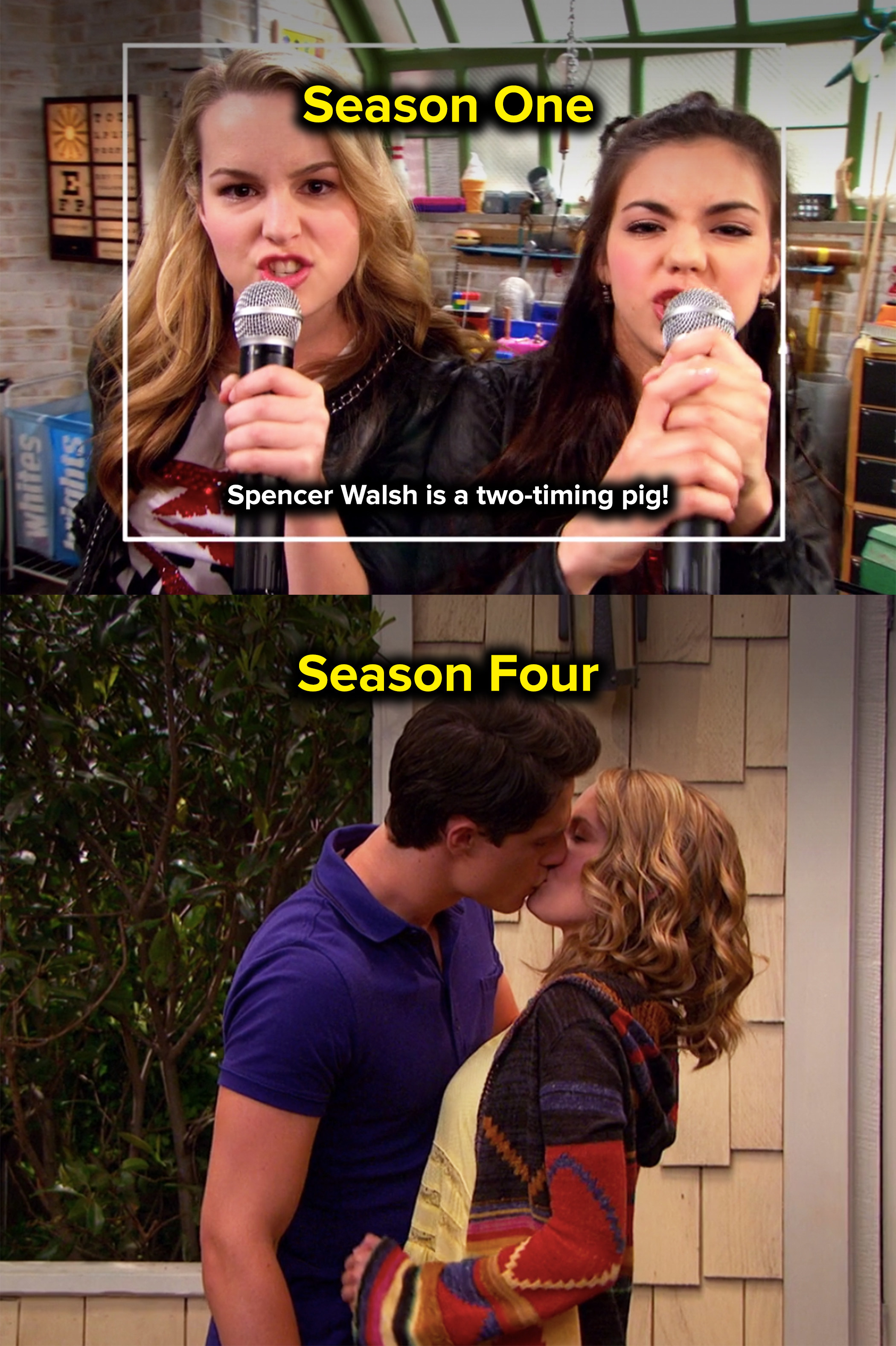 they broke up in the first season and got back together in the finale