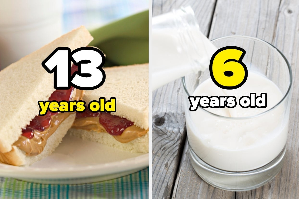 """Peanut butter and jelly sandwich with the words """"13 years old"""" and milk with words """"6 years old"""""""