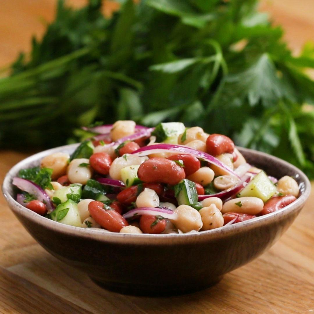 Bowl of bean salad with veggies