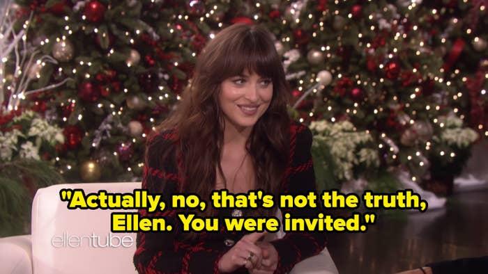 Dakota Johnson appearing on The Ellen Show