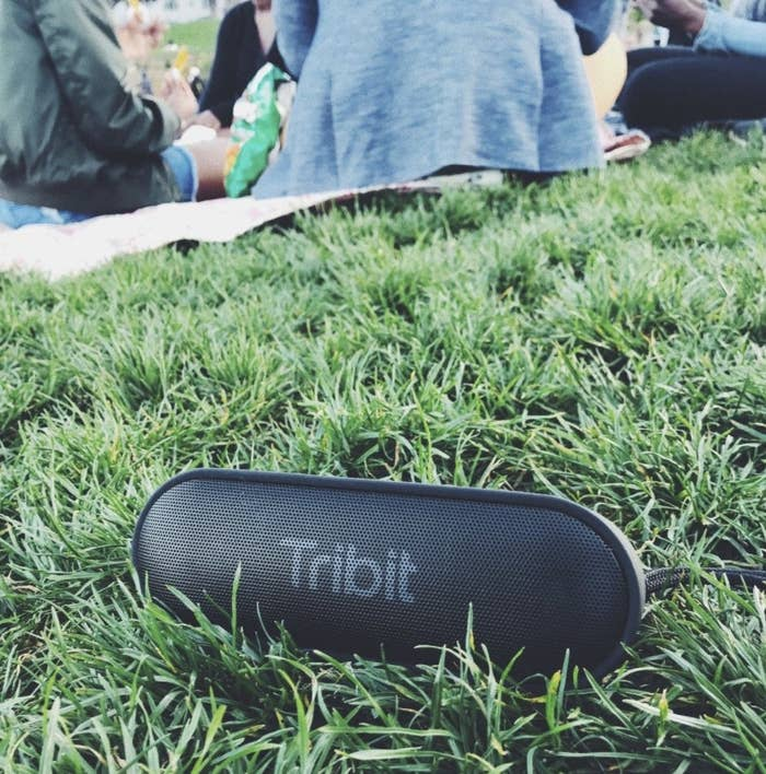 A customer review photo of the speaker in some grass