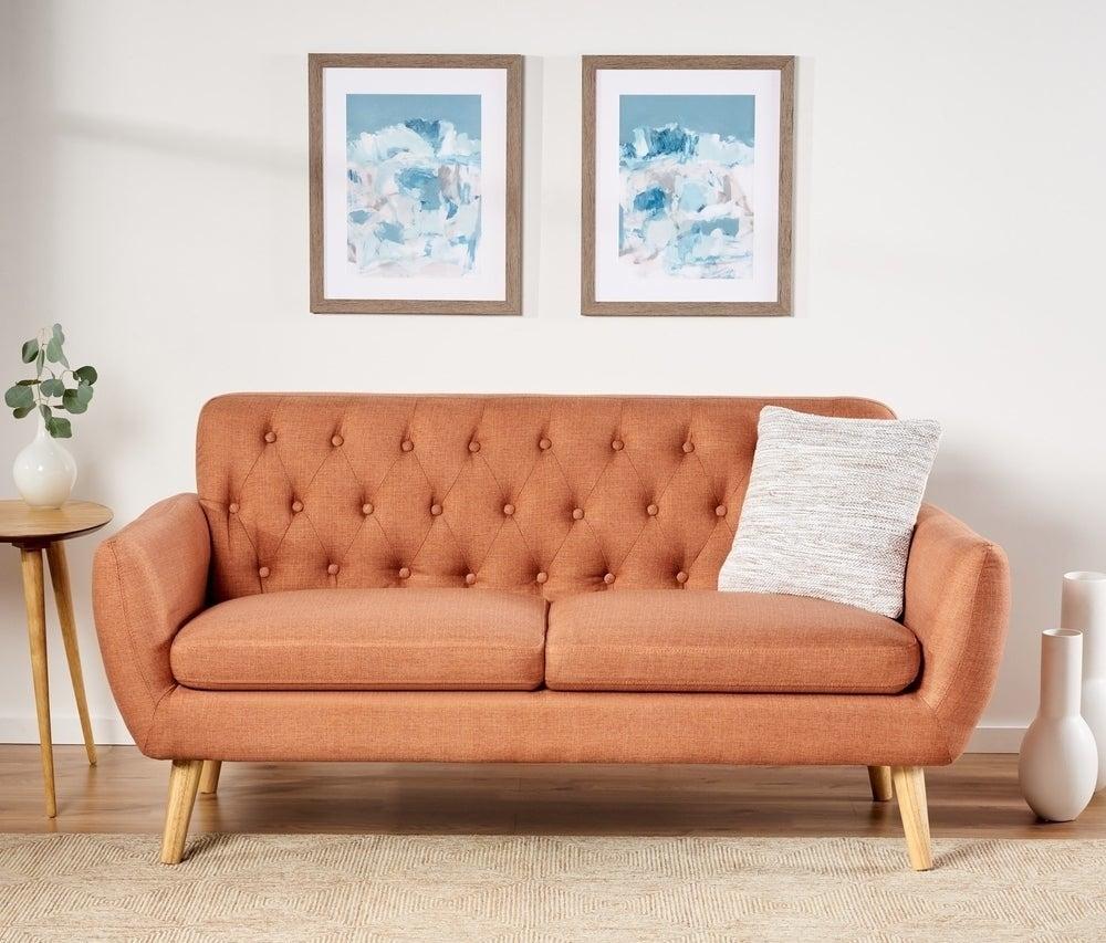 the four-legged sofa in orange