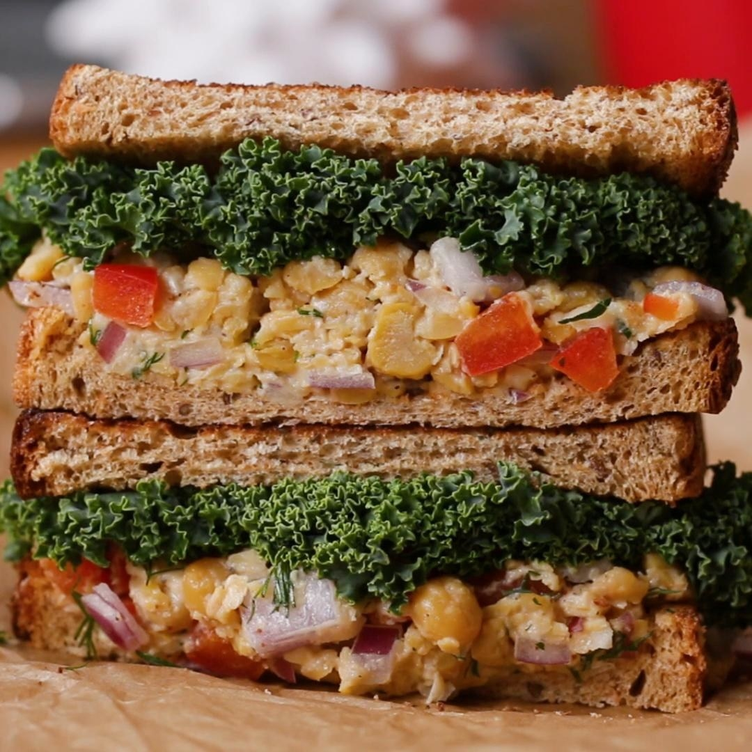 Two halves of a sandwich stacked on top of each other