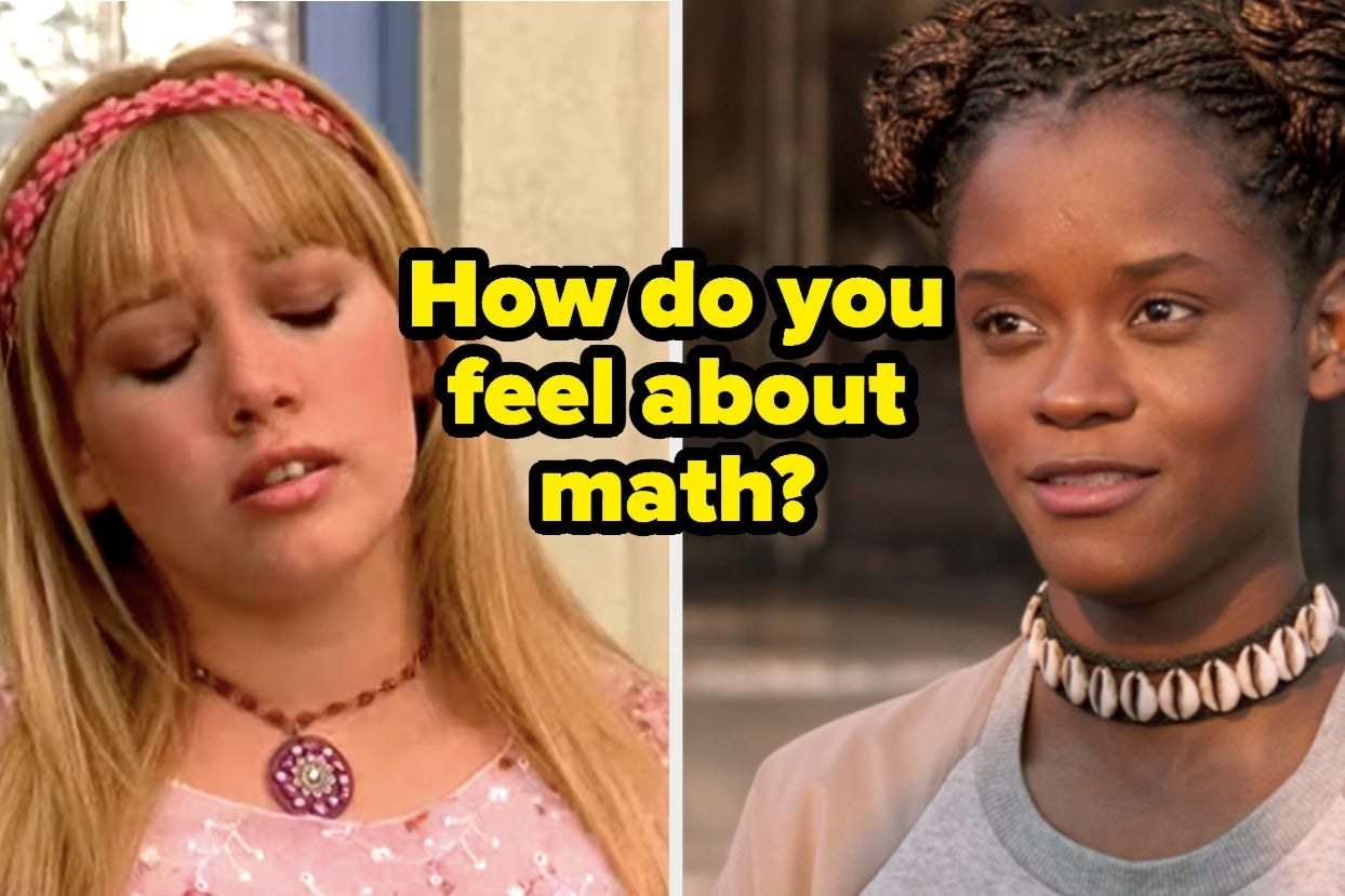 """Lizzie McGuire and Shuri with text, """"How do you feel about math?"""""""