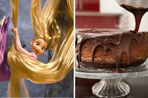 Rapunzel is on the left with her hair to the floor and a chocolate cake on the right
