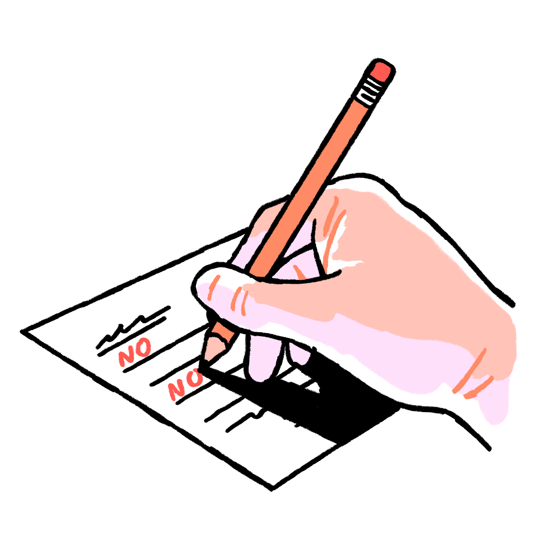 Illustration of a hand writing NO on a form
