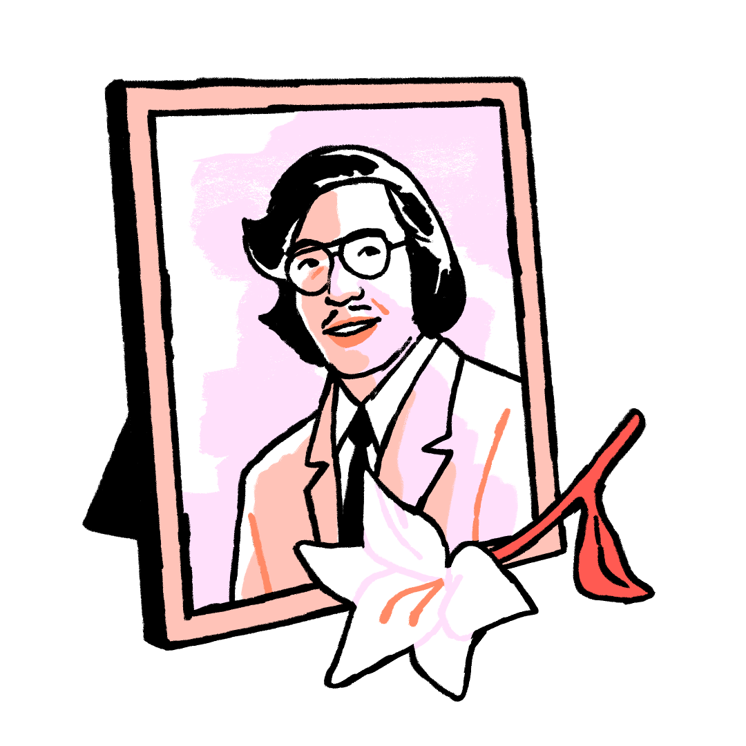 Illustration of a framed memorial photograph of Vincent Chin