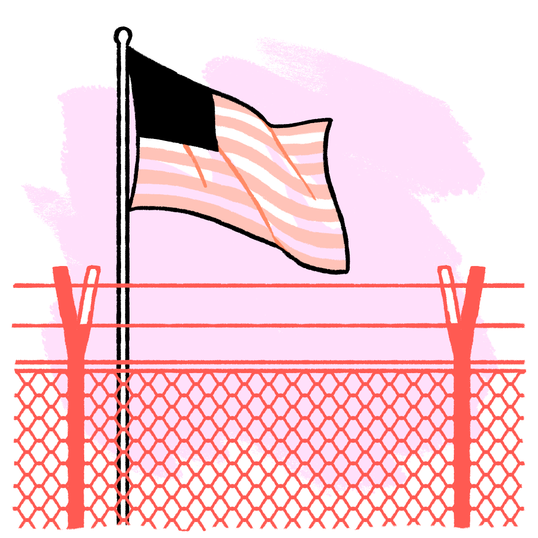 Illustration of a US flag behind a chain-link fence