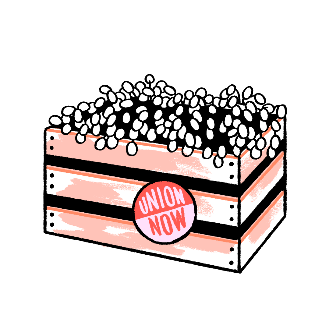Illustration of a crate of grapes with a pro-union sticker attached