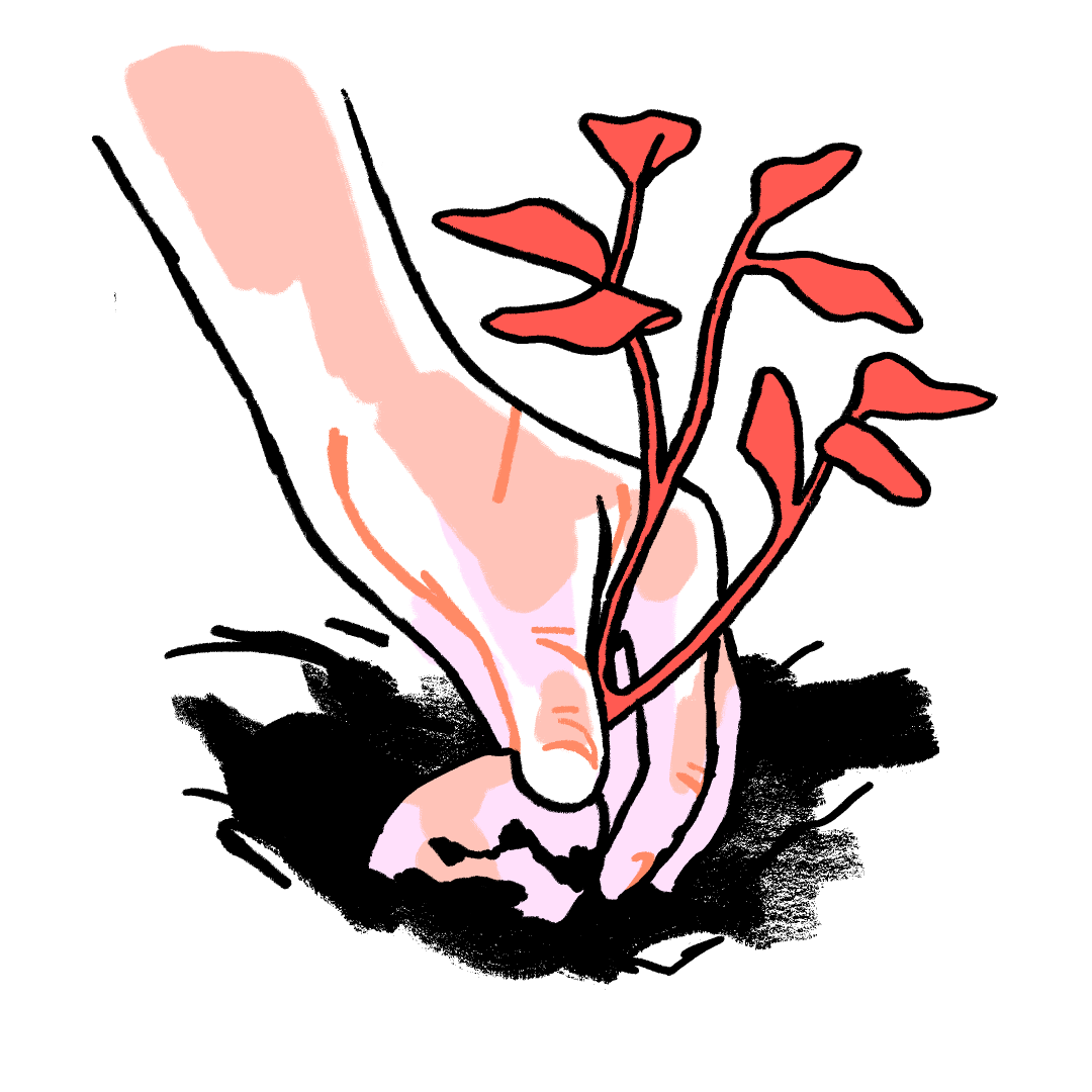 Illustration of a hand unearthing a potato