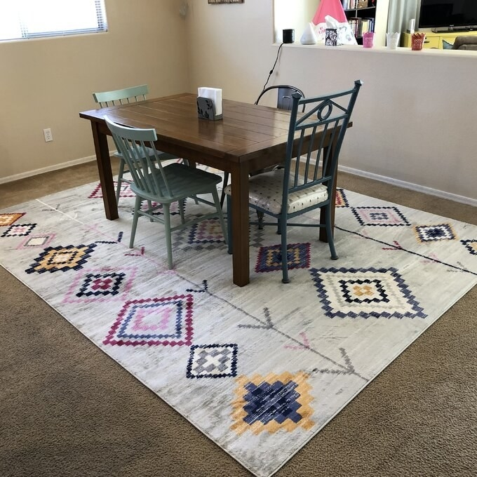 a reviewer's rug placed under a dining room table