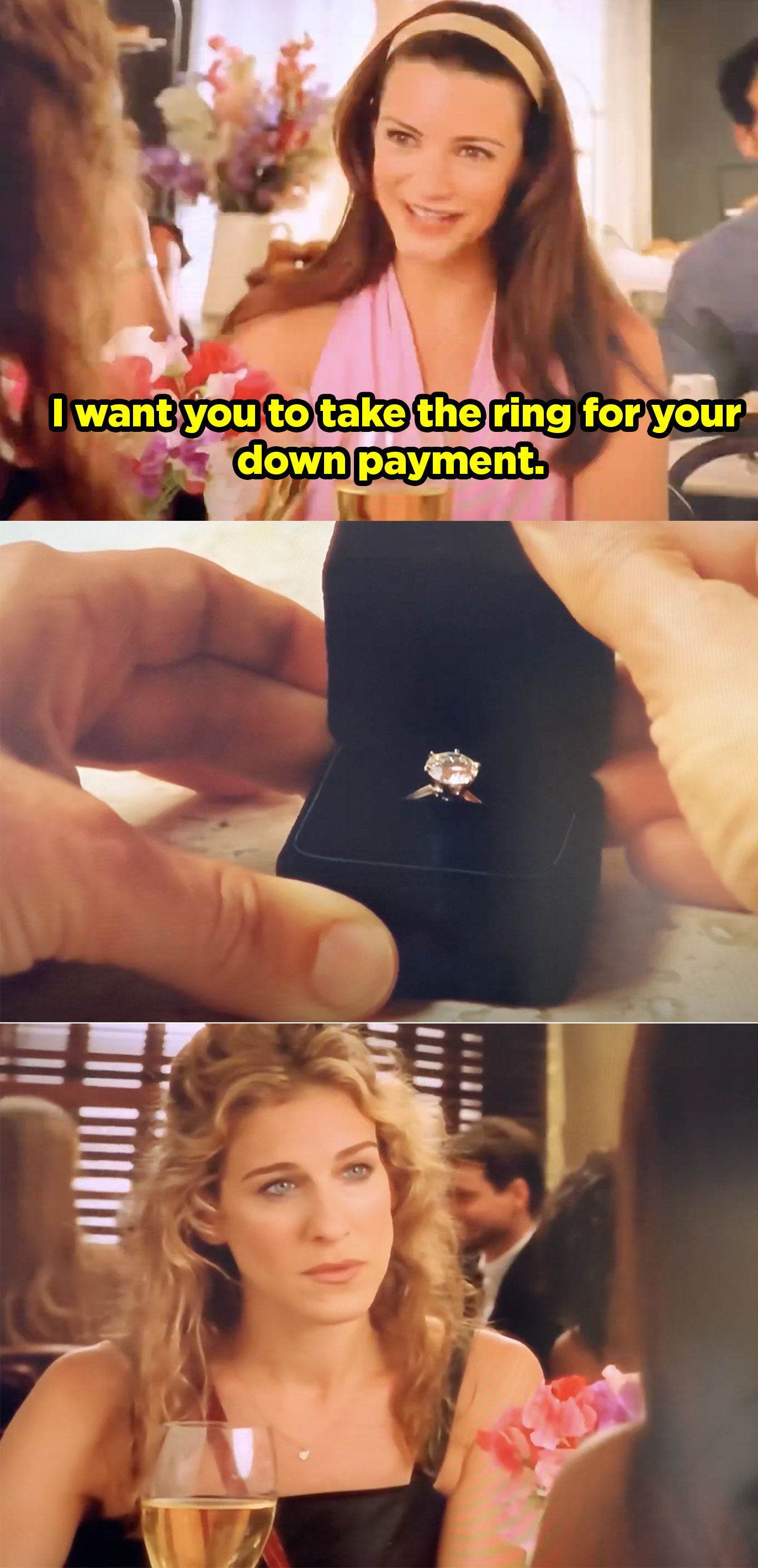 Charlotte handing Carrie her old engagement ring.
