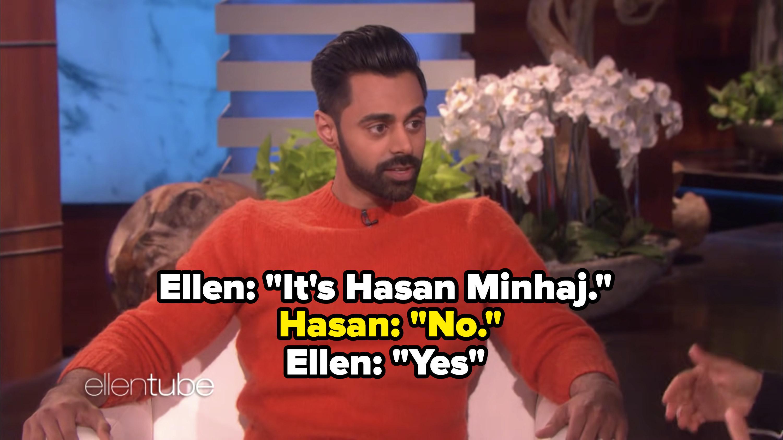 Hasan Minhaj appearing on The Ellen Show