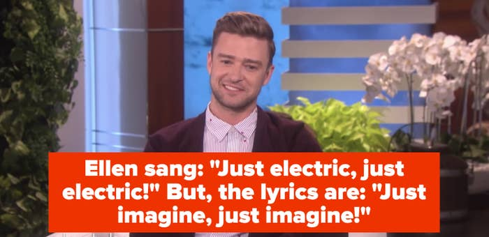 Justin Timberlake appearing on The Ellen Show