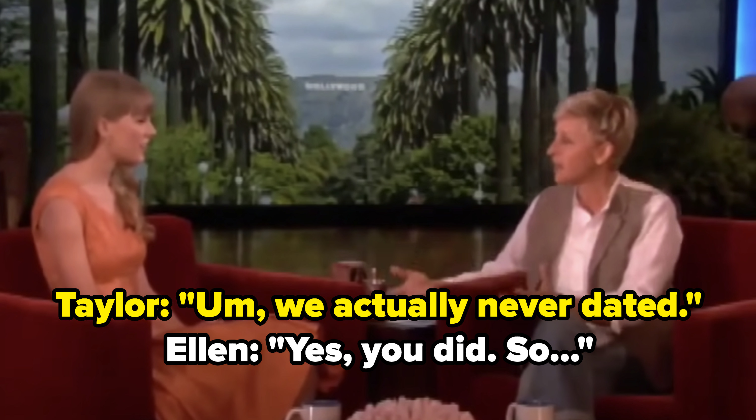 Taylor Swift appearing on The Ellen Show
