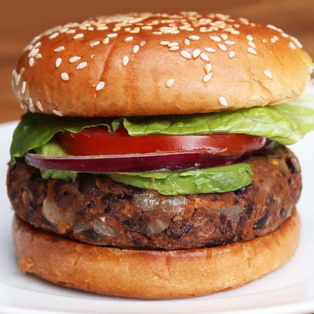 Black bean burger on a bun