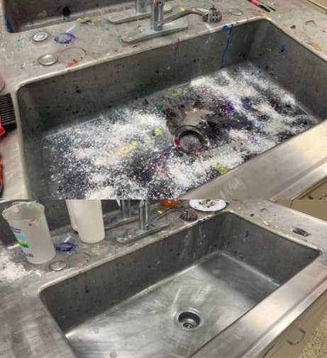 Paint-covered sink with the base cleaned using the product