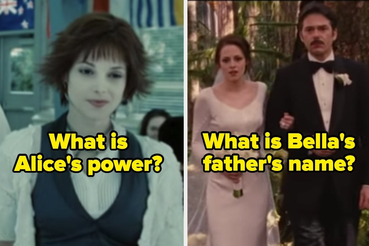 """Alice with the words """"What is Alice's power?"""" and Bella and her dad with the words """"What is Bella's father's name?"""""""