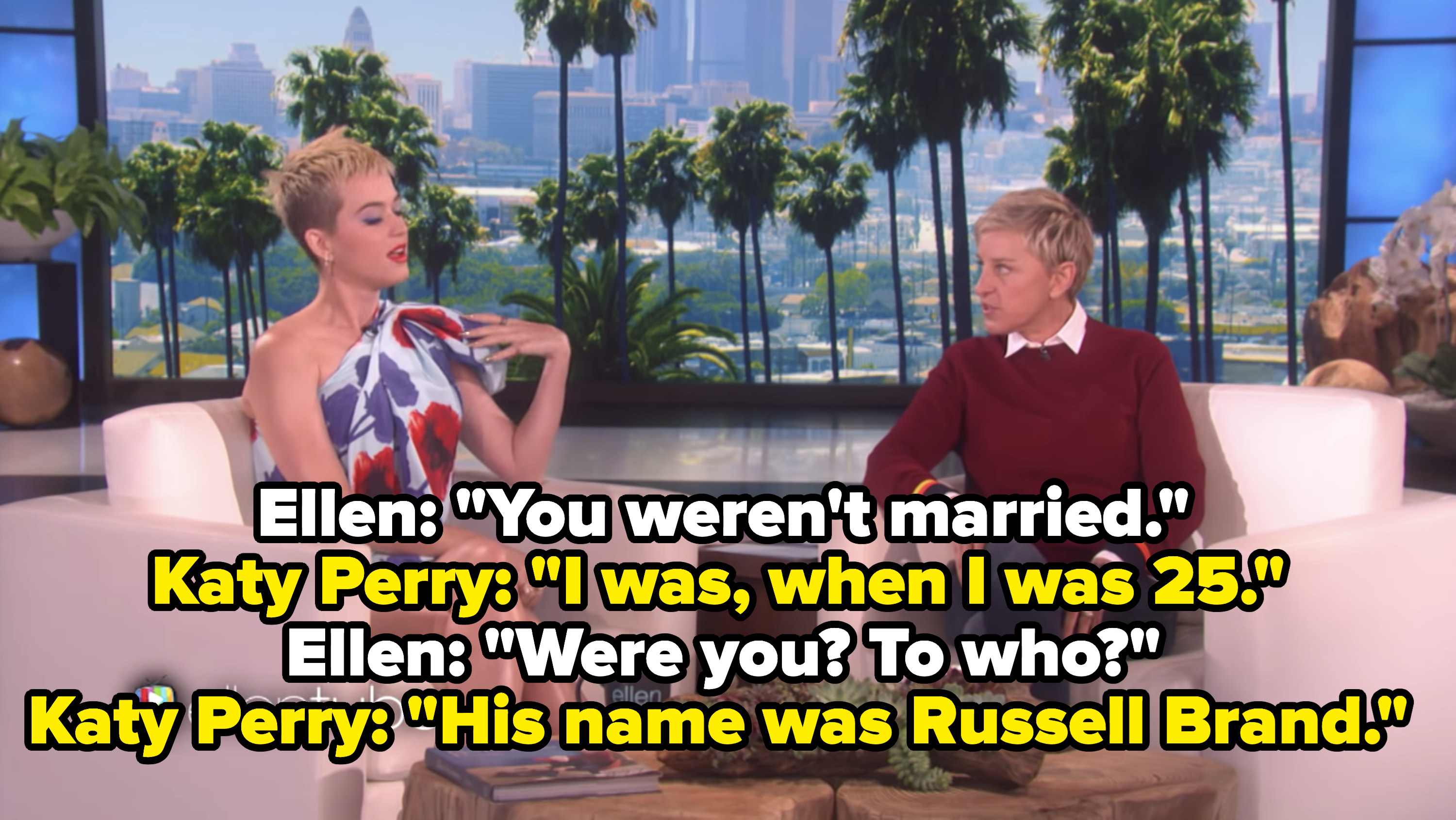Katy Perry appearing on The Ellen Show
