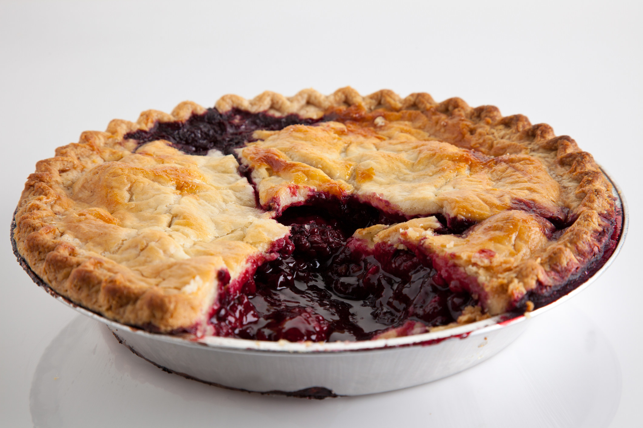 A baked marionberry pie.
