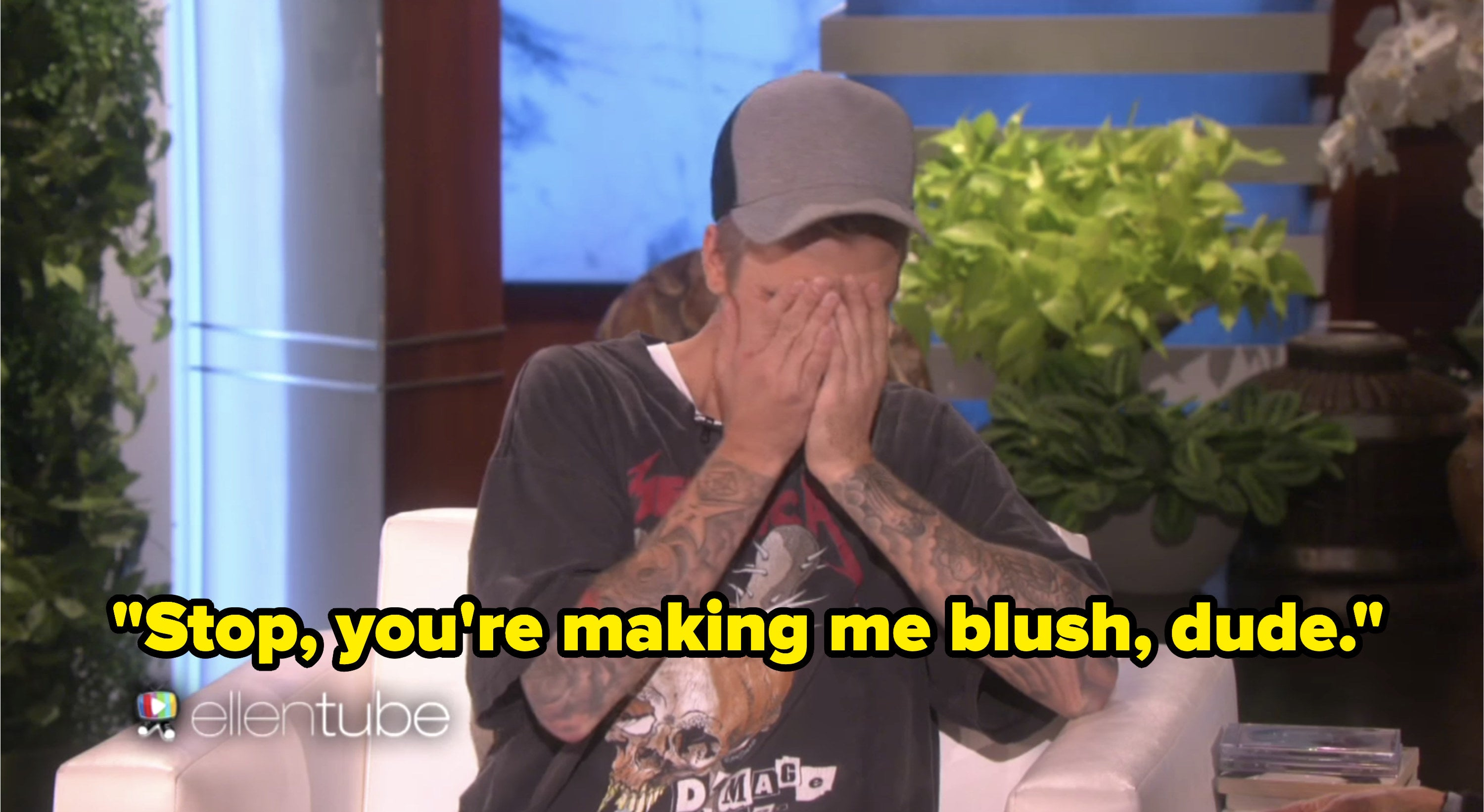 """Justin Bieber appearing on The Ellen Show and saying """"Stop, you're making me blush dude"""""""