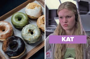 """On the left, a box of various donuts, and on the right, Julia Stiles as Kat in """"10 Things I Hate About You"""""""