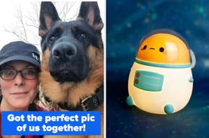 """reviewer's selfie with their dog and the text """"got the perfect pic of us together!"""" and an led light shaped like an astronaut potato"""
