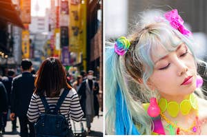 Back of woman walking through Seoul marketplace split with a Japanese woman with colorful hair and neon accessories