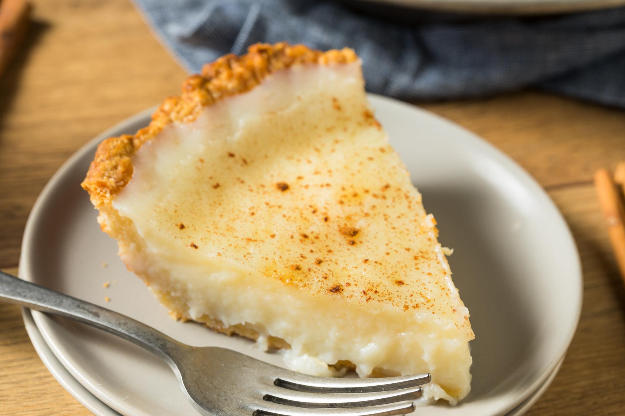 A slice of sugar cream pie.