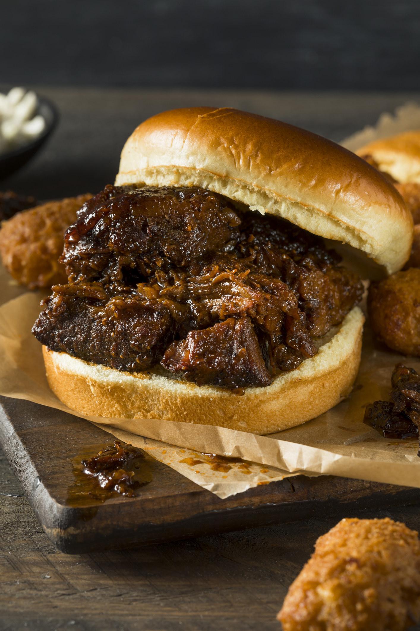 A BBQ burnt ends sandwich.