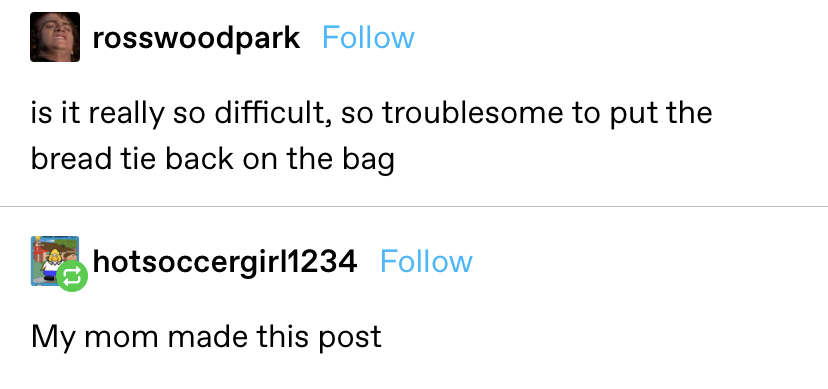 """""""is it really so difficult, so troublesome to put the bread tie back on the bag"""" response: """"my mom made this post"""""""