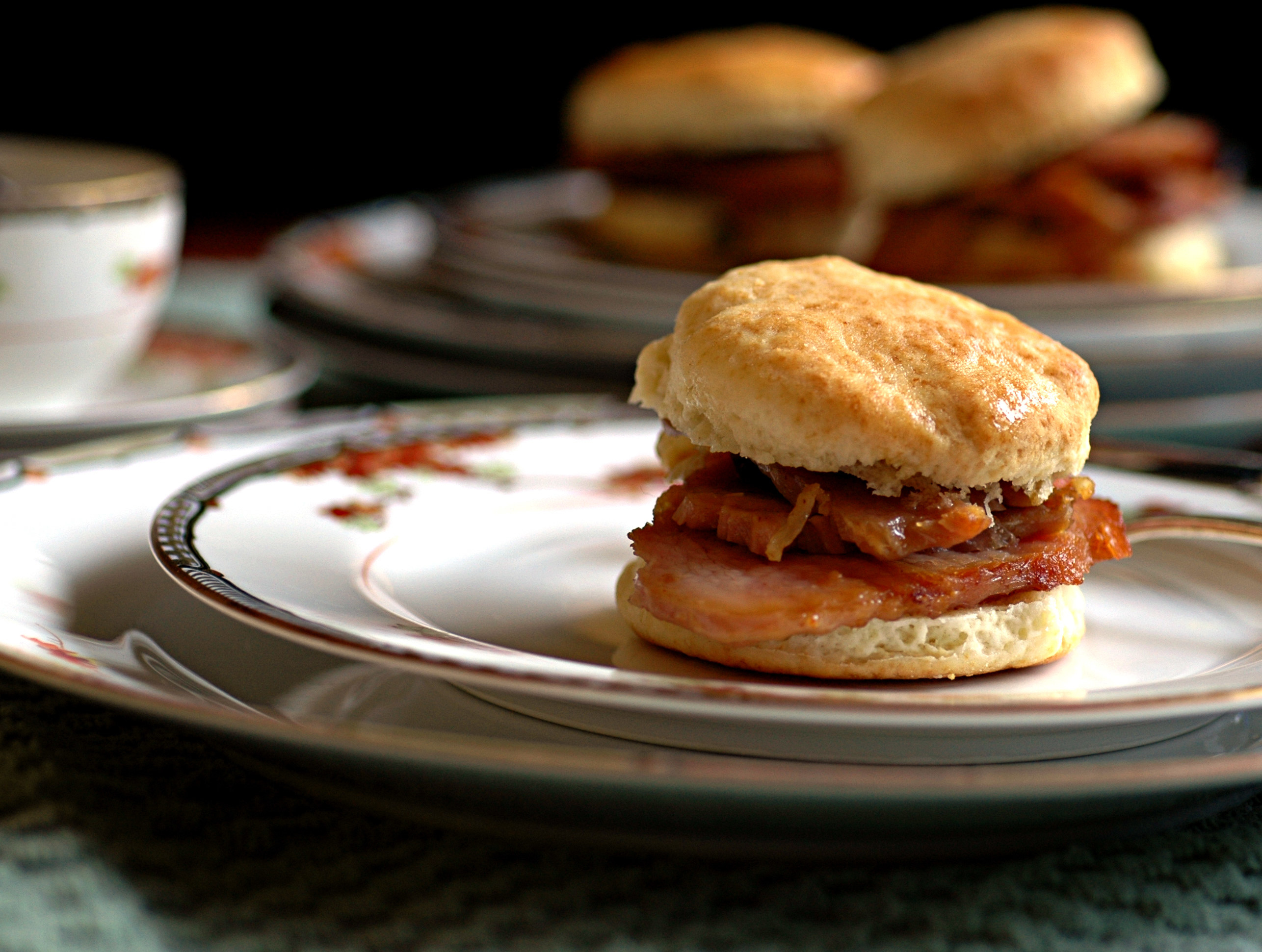 Country ham on a biscuit.