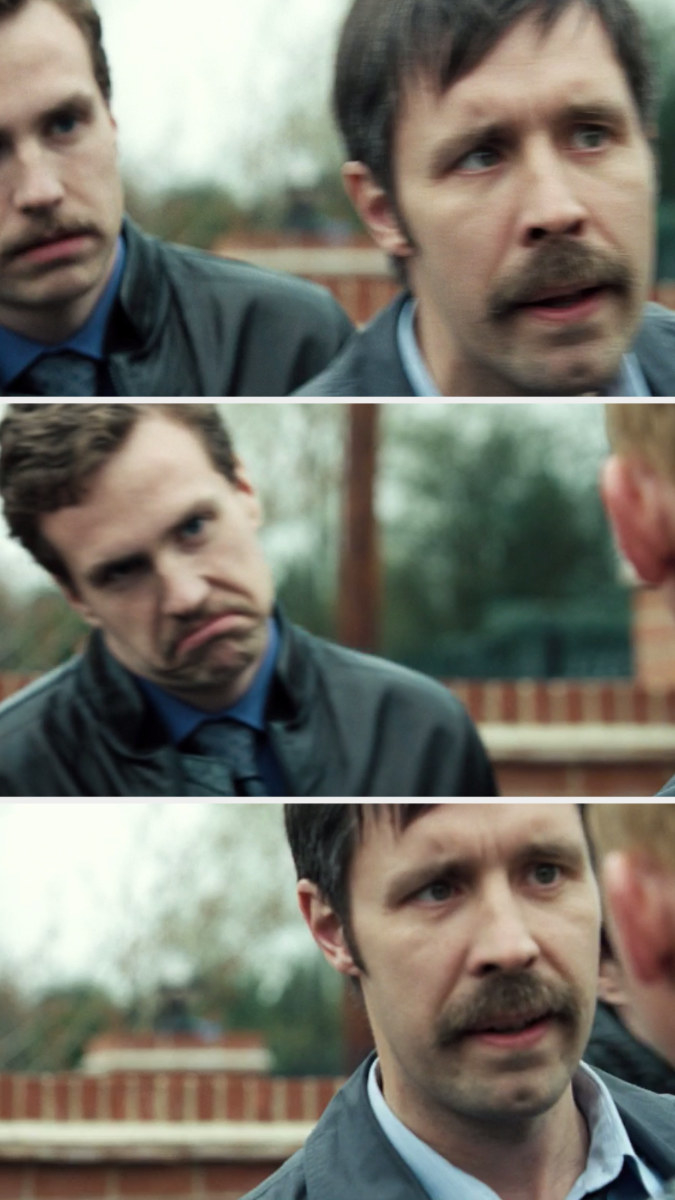 Detective Sergeant Andy glared at Angel, leaves frame, Detective Constable Andy makes a face at Angel, then Detective Sergeant Andy comes back into frame to glare at Angel again
