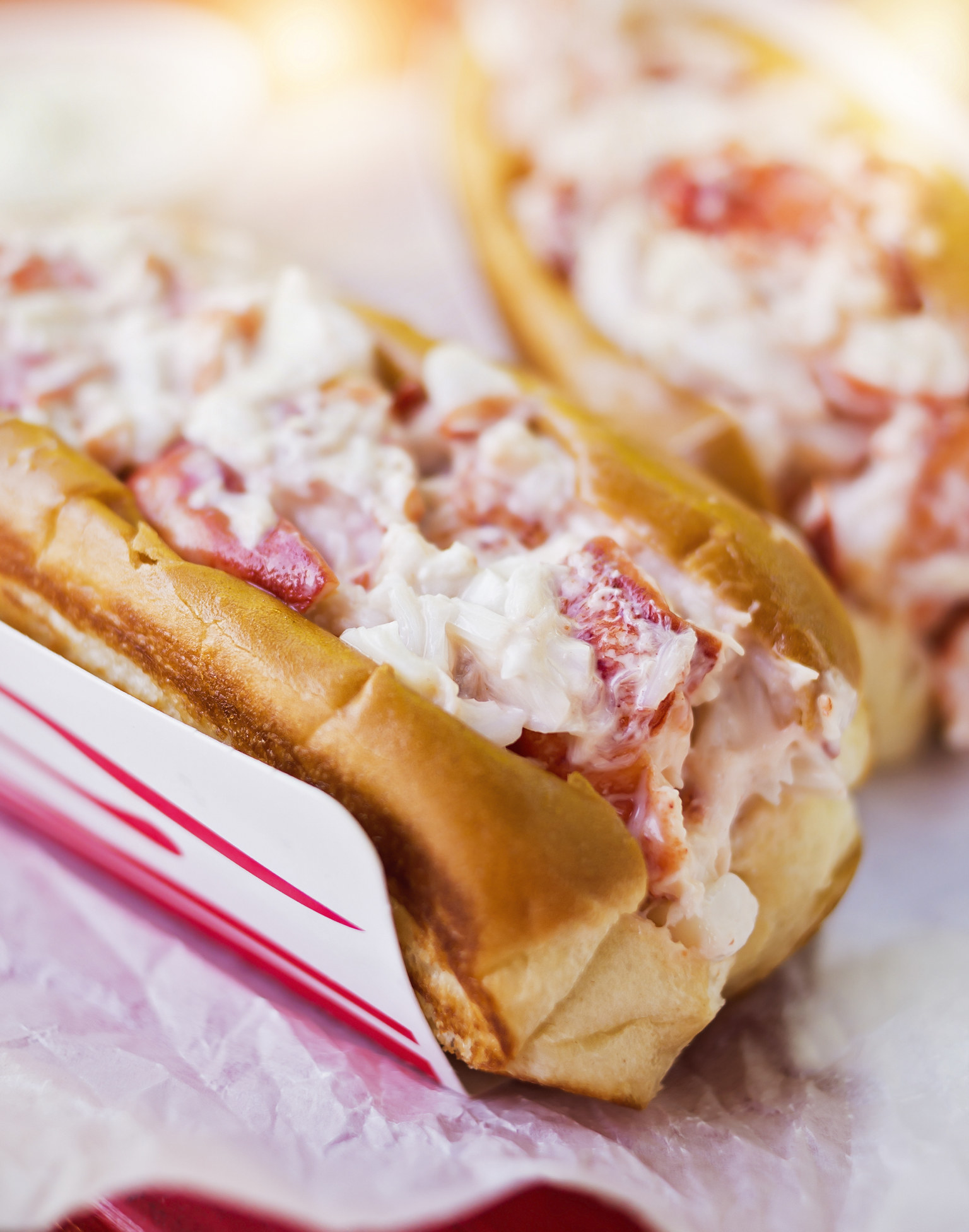 Two lobster rolls with a bit of mayo on toasted buns