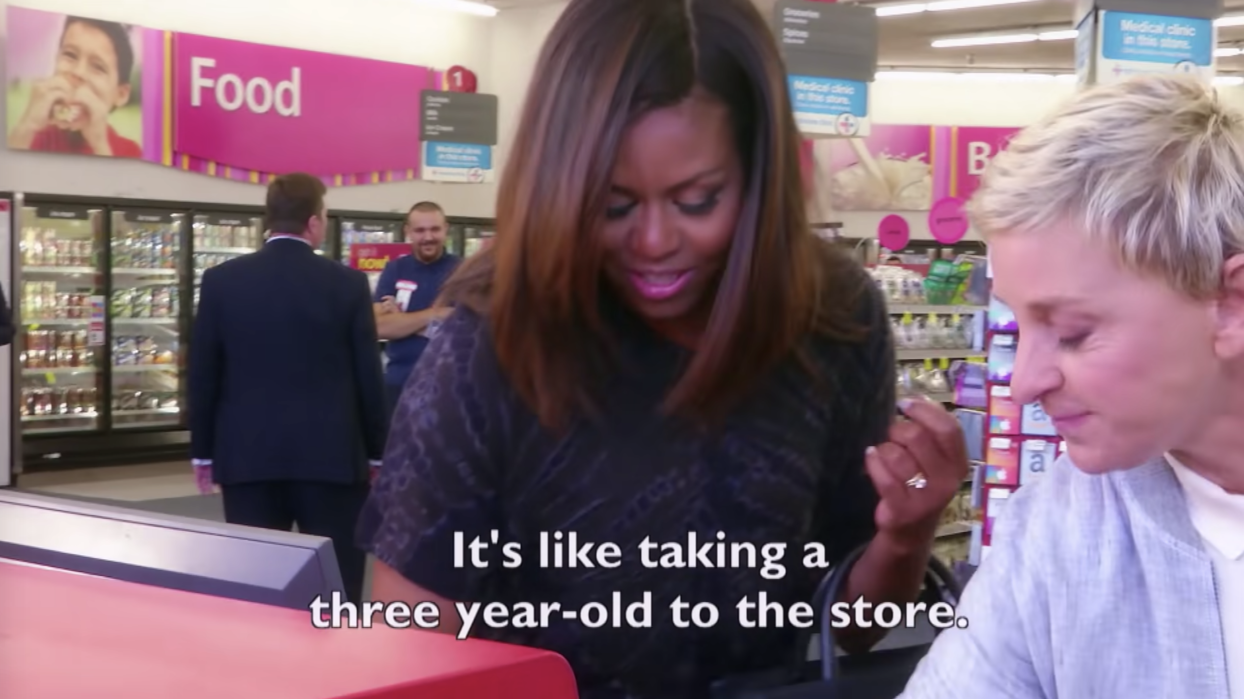 """Michelle Obama checking out at CVS with the caption """"It's like taking a three year-old to the store"""""""
