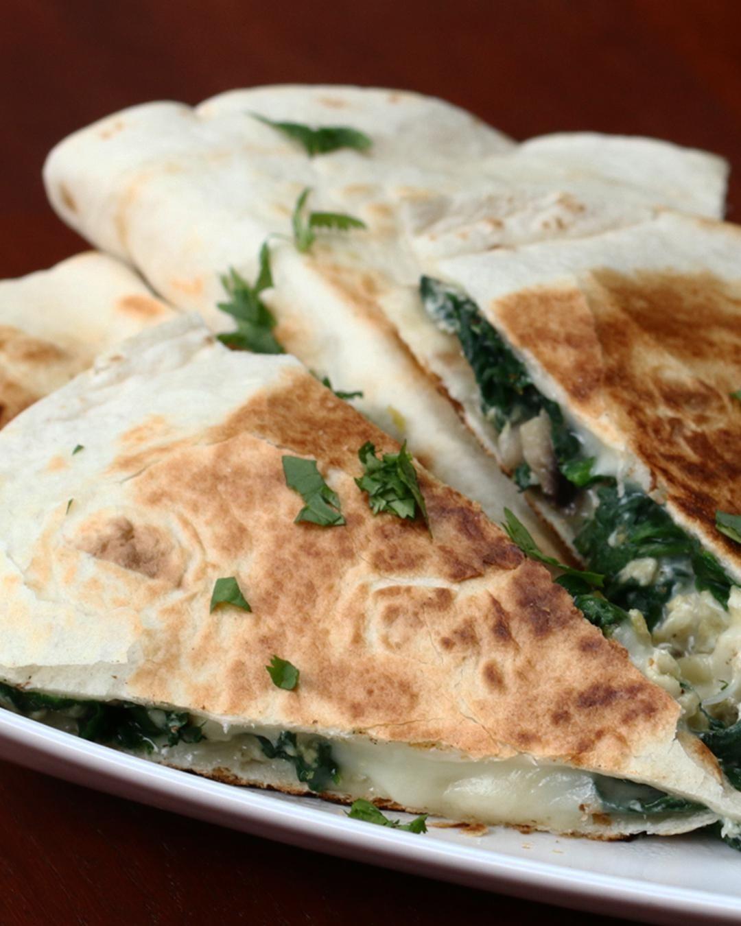 Spinach and Mushroom Quesadilla