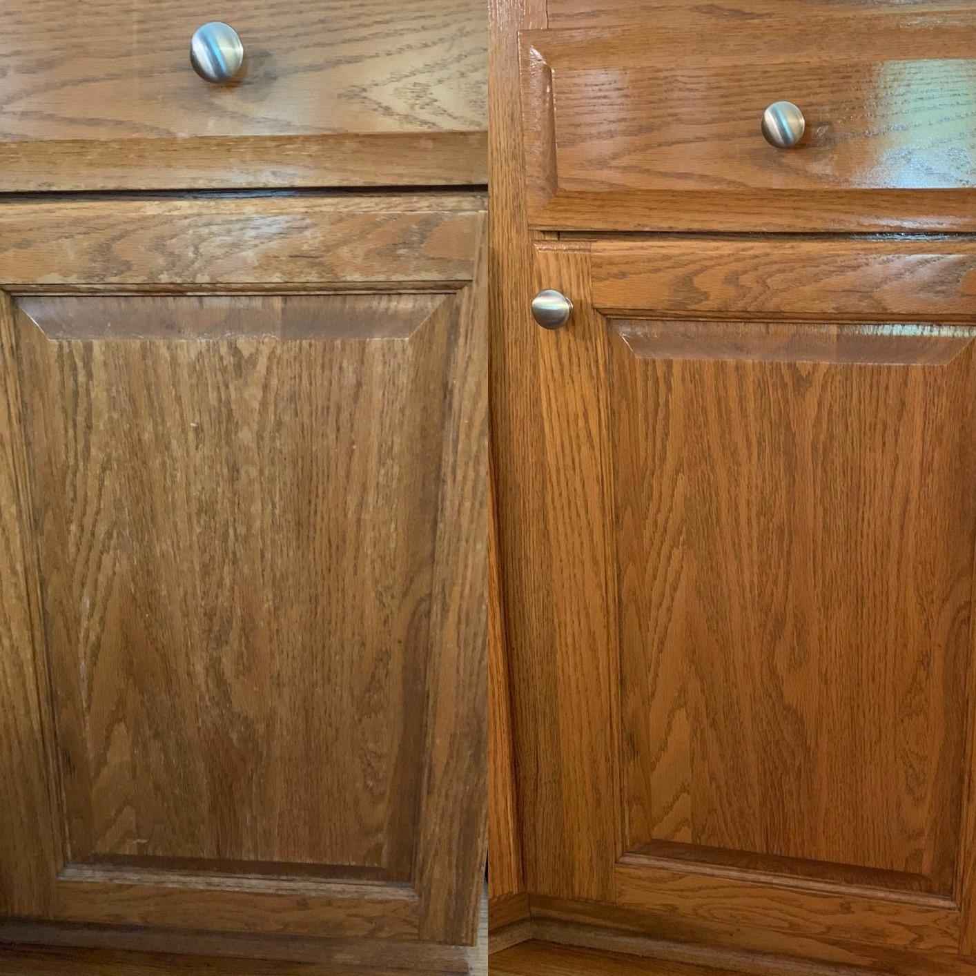 reviewer's wood cabinets before, with some water stains on the finish, and after, with no water stains and looking warmer and shinier
