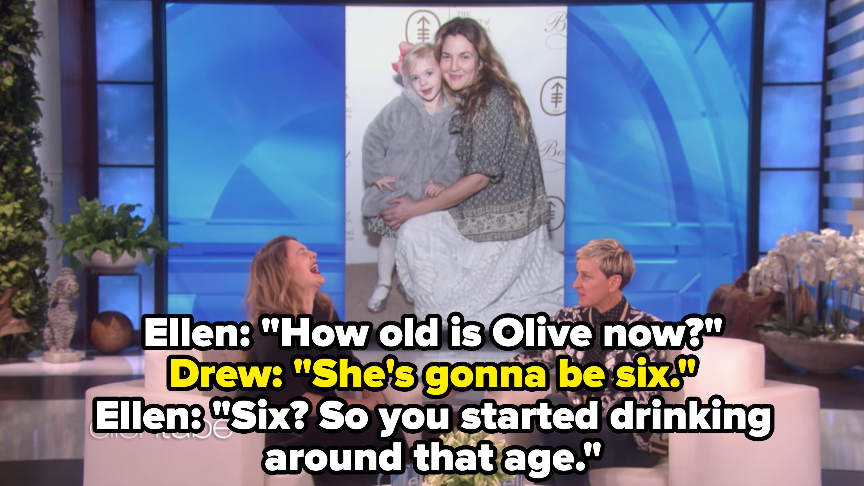 Drew Barrymore appearing on The Ellen Show