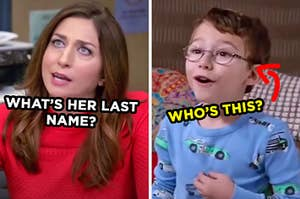 """On the left, Gina from """"Brooklyn Nine-Nine"""" labeled """"what's her last name?"""" and on the right, a sweet little kid wearing glasses with an arrow pointing to him and """"who's this?"""" typed under his face"""