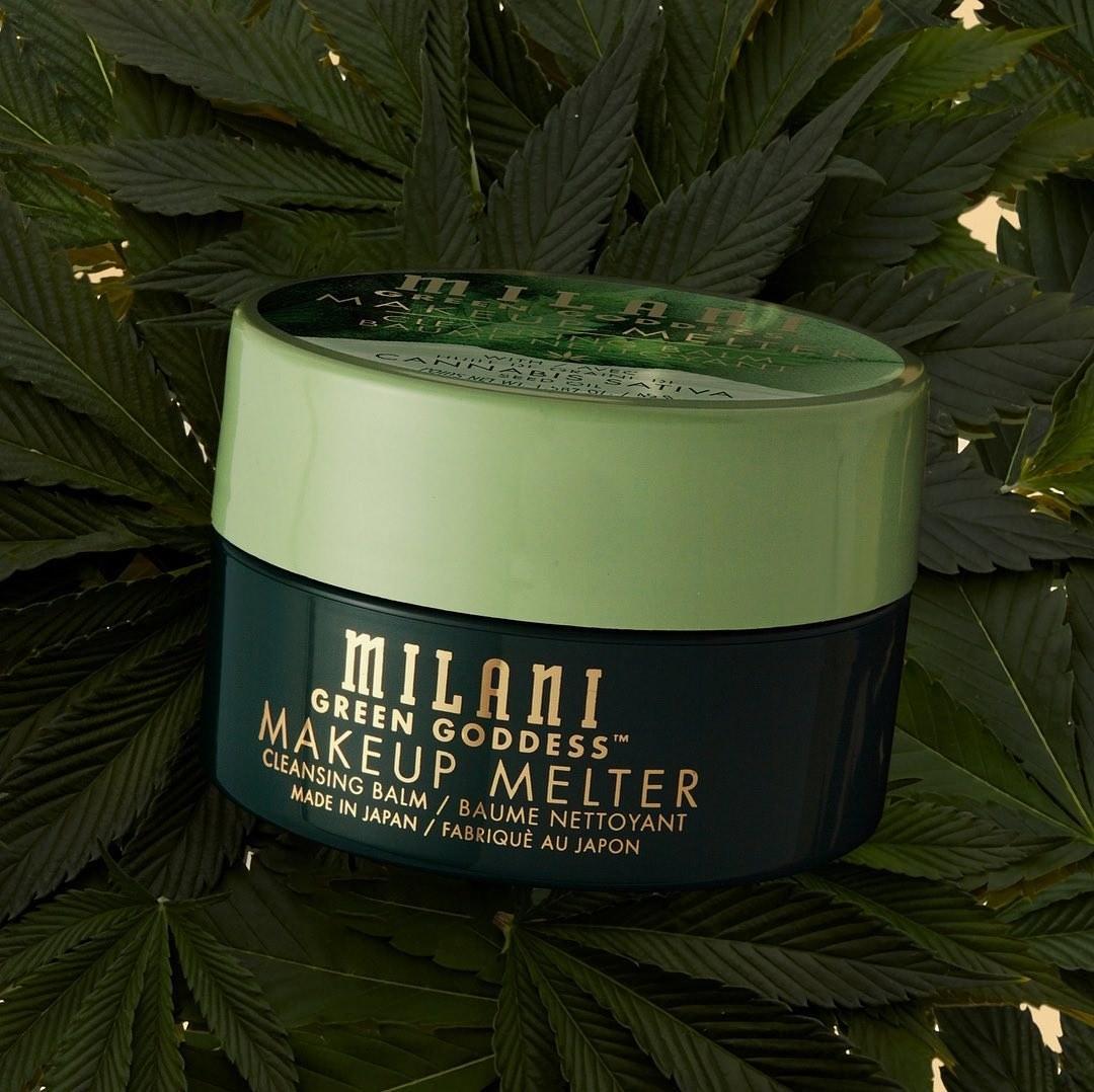 milani green goddess makeup melter against leaves