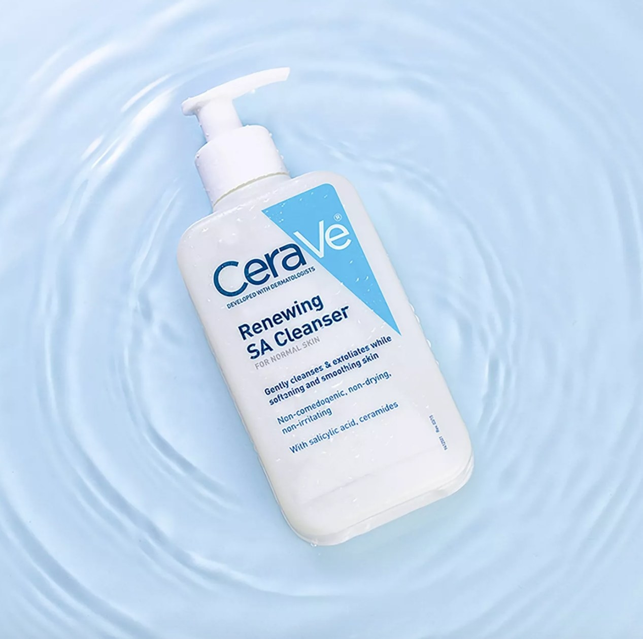 cerave cleanser against light blue water looking background