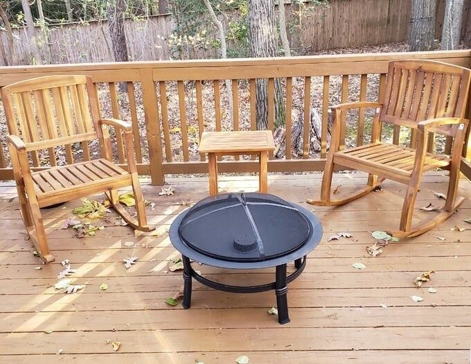 the fire pit on a reviewer's deck