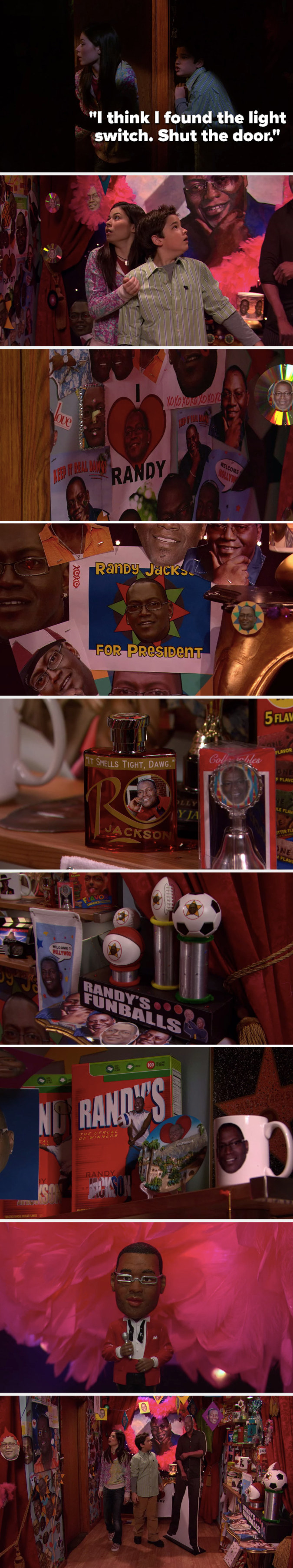 """Freddie says, """"I think I found the light switch. Shut the door,"""" and he and Carly realize they're in a closet full of pictures of Randy Jackson and Randy Jackson paraphernalia"""