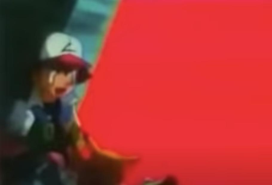 Pikachu flashing lights next to Ash