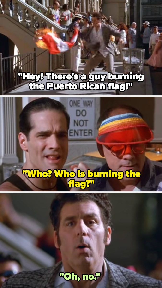 Kramer tries to put out fire on Puerto Rican flag, and people notice and say he's burning the flag